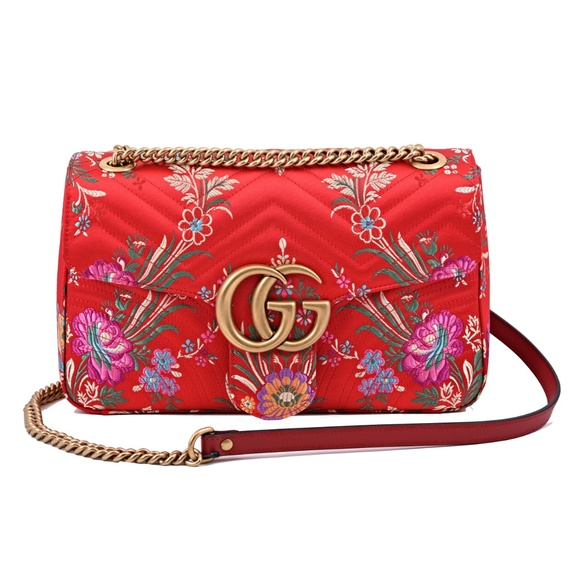 6882f69ca97 New Gucci Marmont Gg Medium Jacquard Leather Bag